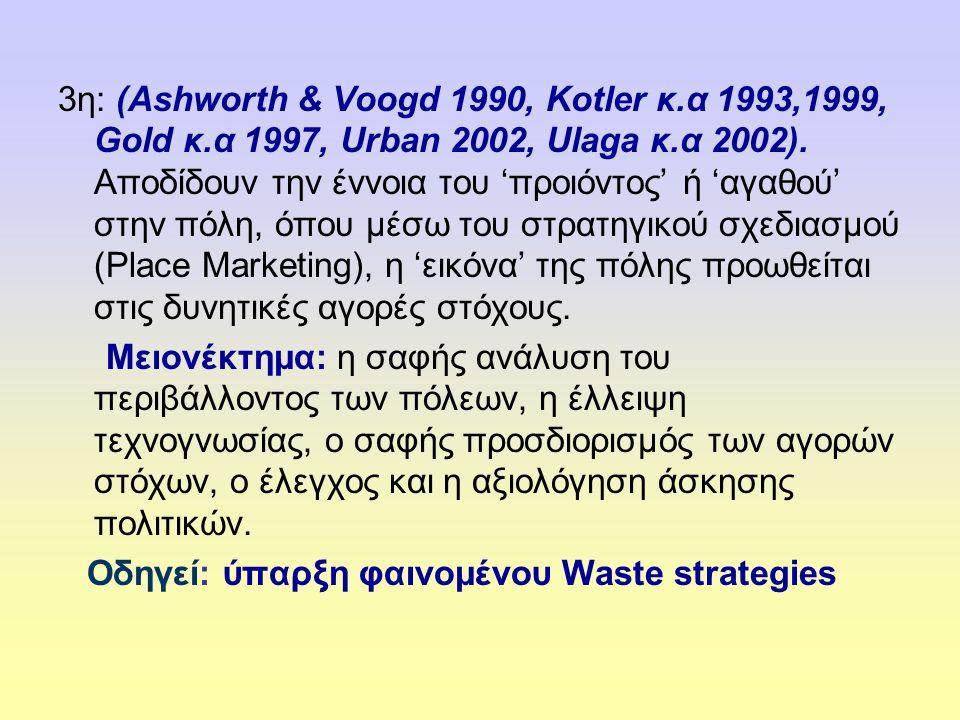 3η: (Αshworth & Voogd 1990, Kotler κ.α 1993,1999, Gold κ.α 1997, Urban 2002, Ulaga κ.α 2002).