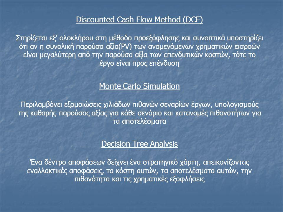 Discounted Cash Flow Method (DCF) Στηρίζεται εξ' ολοκλήρου στη μέθοδο προεξόφλησης και συνοπτικά υποστηρίζει ότι αν η συνολική παρούσα αξία(PV) των αναμενόμενων χρηματικών εισροών είναι μεγαλύτερη από την παρούσα αξία των επενδυτικών κοστών, τότε το έργο είναι προς επένδυση Monte Carlo Simulation Περιλαμβάνει εξομοιώσεις χιλιάδων πιθανών σεναρίων έργων, υπολογισμούς της καθαρής παρούσας αξίας για κάθε σενάριο και κατανομές πιθανοτήτων για τα αποτελέσματα Decision Tree Analysis Ένα δέντρο αποφάσεων δείχνει ένα στρατηγικό χάρτη, απεικονίζοντας εναλλακτικές αποφάσεις, τα κόστη αυτών, τα αποτελέσματα αυτών, την πιθανότητα και τις χρηματικές εξοφλήσεις