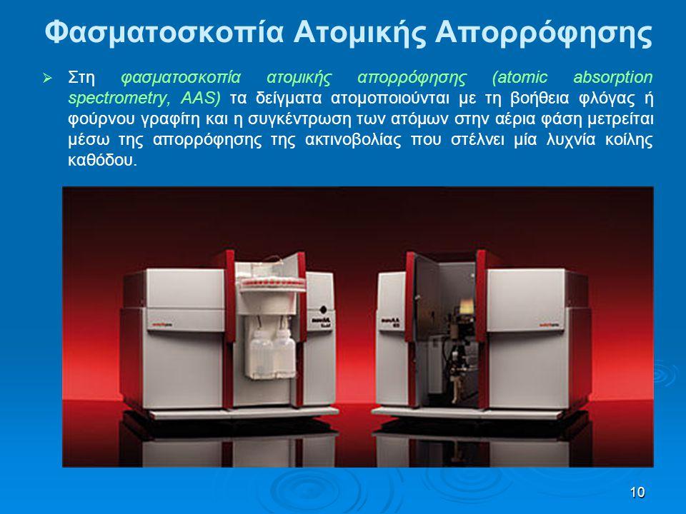 10 Φασματοσκοπία Ατομικής Απορρόφησης   Στη φασματοσκοπία ατομικής απορρόφησης (atomic absorption spectrometry, AAS) τα δείγματα ατομοποιούνται με τ