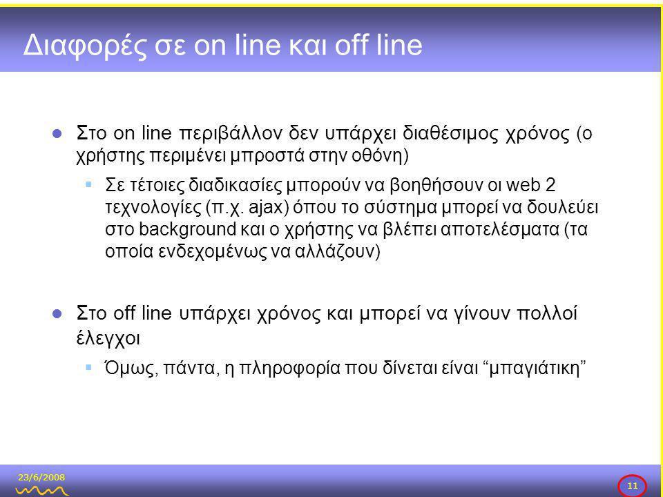 23/6/2008 11 Διαφορές σε on line και off line  Στο on line περιβάλλον δεν υπάρχει διαθέσιμος χρόνος (ο χρήστης περιμένει μπροστά στην οθόνη)  Σε τέτοιες διαδικασίες μπορούν να βοηθήσουν οι web 2 τεχνολογίες (π.χ.