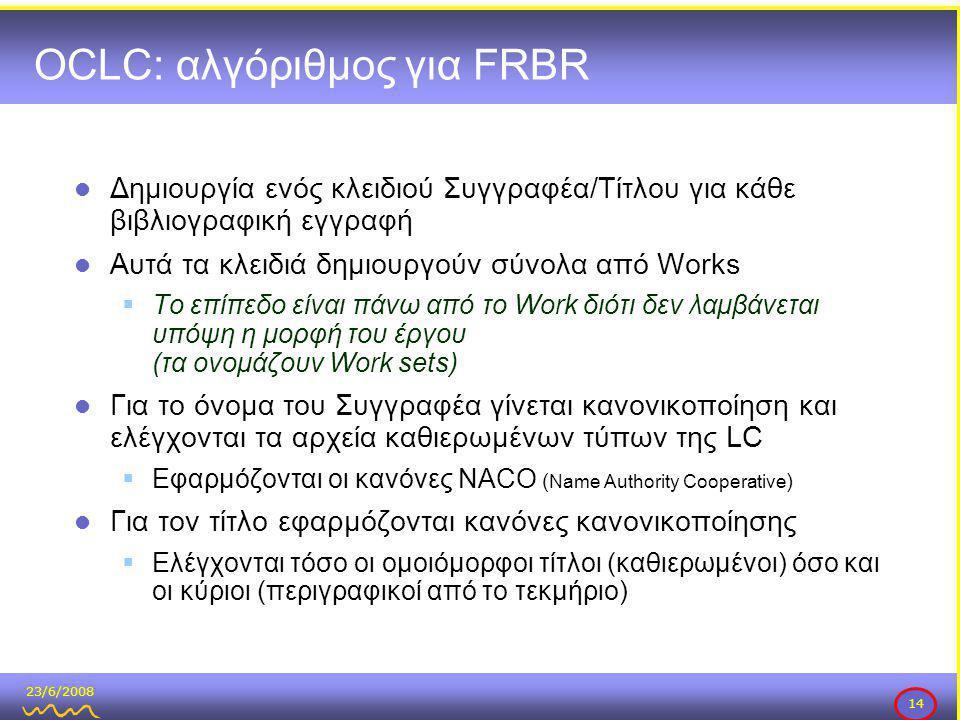 23/6/2008 14 OCLC: αλγόριθμος για FRBR  Δημιουργία ενός κλειδιού Συγγραφέα/Τίτλου για κάθε βιβλιογραφική εγγραφή  Αυτά τα κλειδιά δημιουργούν σύνολα από Works  Το επίπεδο είναι πάνω από το Work διότι δεν λαμβάνεται υπόψη η μορφή του έργου (τα ονομάζουν Work sets)  Για το όνομα του Συγγραφέα γίνεται κανονικοποίηση και ελέγχονται τα αρχεία καθιερωμένων τύπων της LC  Εφαρμόζονται οι κανόνες NACO ( Name Authority Cooperative )  Για τον τίτλο εφαρμόζονται κανόνες κανονικοποίησης  Ελέγχονται τόσο οι ομοιόμορφοι τίτλοι (καθιερωμένοι) όσο και οι κύριοι (περιγραφικοί από το τεκμήριο)