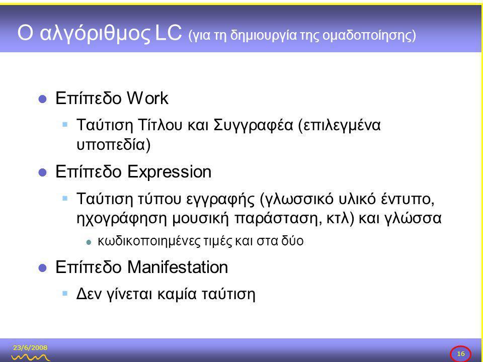 23/6/2008 16 Ο αλγόριθμος LC (για τη δημιουργία της ομαδοποίησης)  Επίπεδο Work  Ταύτιση Τίτλου και Συγγραφέα (επιλεγμένα υποπεδία)  Επίπεδο Expression  Ταύτιση τύπου εγγραφής (γλωσσικό υλικό έντυπο, ηχογράφηση μουσική παράσταση, κτλ) και γλώσσα  κωδικοποιημένες τιμές και στα δύο  Επίπεδο Manifestation  Δεν γίνεται καμία ταύτιση