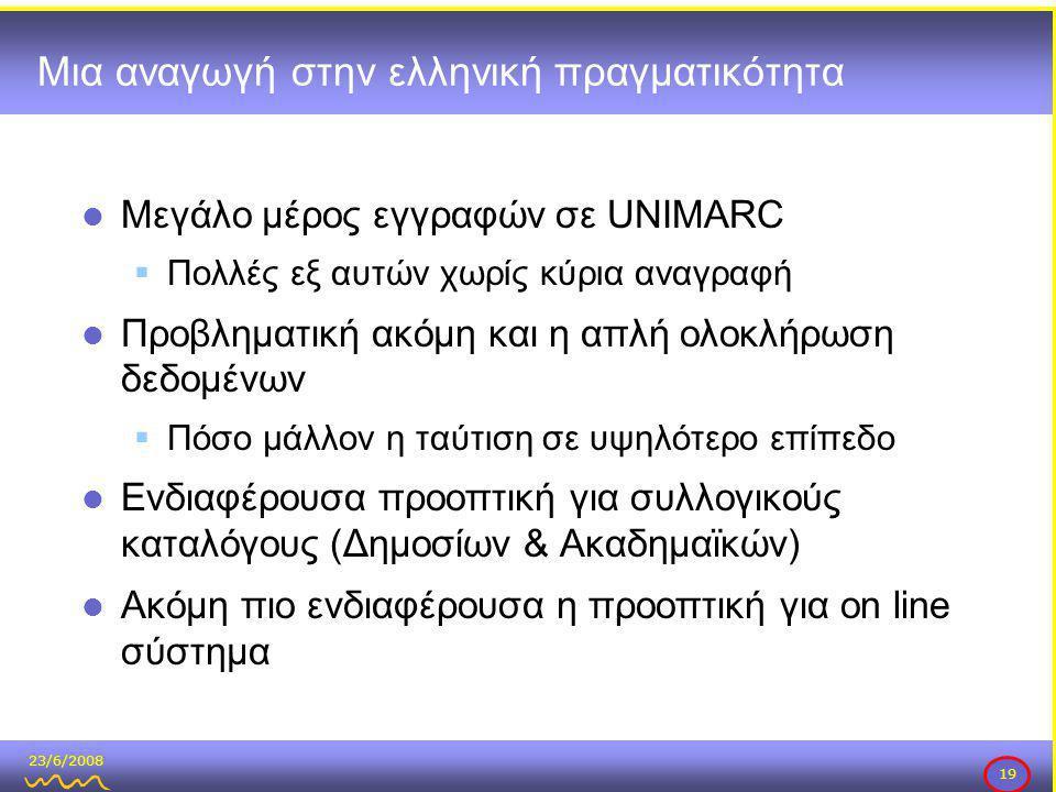 23/6/2008 19 Μια αναγωγή στην ελληνική πραγματικότητα  Μεγάλο μέρος εγγραφών σε UNIMARC  Πολλές εξ αυτών χωρίς κύρια αναγραφή  Προβληματική ακόμη και η απλή ολοκλήρωση δεδομένων  Πόσο μάλλον η ταύτιση σε υψηλότερο επίπεδο  Ενδιαφέρουσα προοπτική για συλλογικούς καταλόγους (Δημοσίων & Ακαδημαϊκών)  Ακόμη πιο ενδιαφέρουσα η προοπτική για on line σύστημα