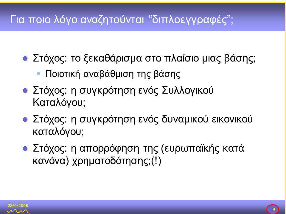 23/6/2008 4 Για ποιο λόγο αναζητούνται διπλοεγγραφές ;  Στόχος: το ξεκαθάρισμα στο πλαίσιο μιας βάσης;  Ποιοτική αναβάθμιση της βάσης  Στόχος: η συγκρότηση ενός Συλλογικού Καταλόγου;  Στόχος: η συγκρότηση ενός δυναμικού εικονικού καταλόγου;  Στόχος: η απορρόφηση της (ευρωπαϊκής κατά κανόνα) χρηματοδότησης;(!)