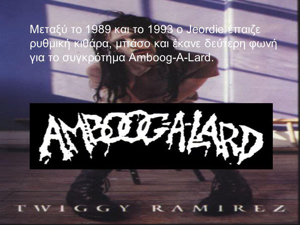 Μεταξύ το 1989 και το 1993 ο Jeordie έπαιζε ρυθμική κιθάρα, μπάσο και έκανε δεύτερη φωνή για το συγκρότημα Amboog-A-Lard.