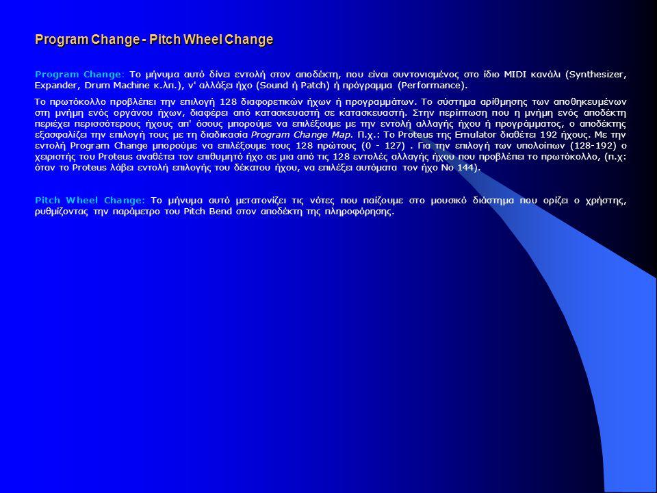 Channel Voice Messages Αυτή η κατηγορία μηνυμάτων απευθύνεται στα κυκλώματα παραγωγής ήχου (Voices) των Synthesizers και λοιπών ηλεκτρονικών οργάνων ε