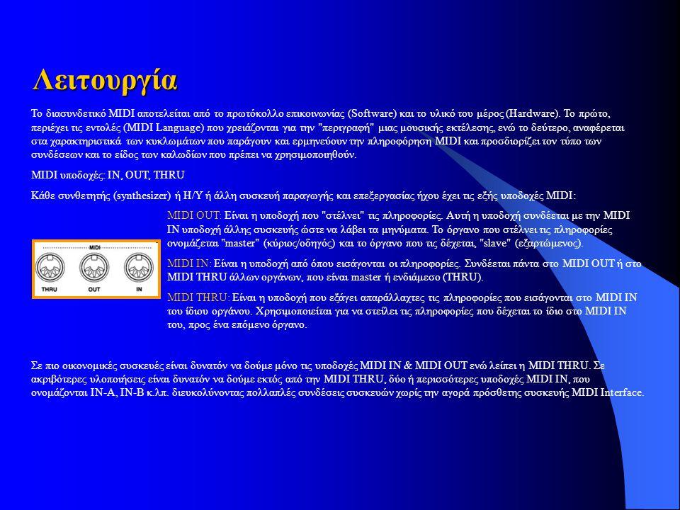 Το διασυνδετικό MIDI αποτελείται από το πρωτόκολλο επικοινωνίας (Software) και το υλικό του μέρος (Hardware).