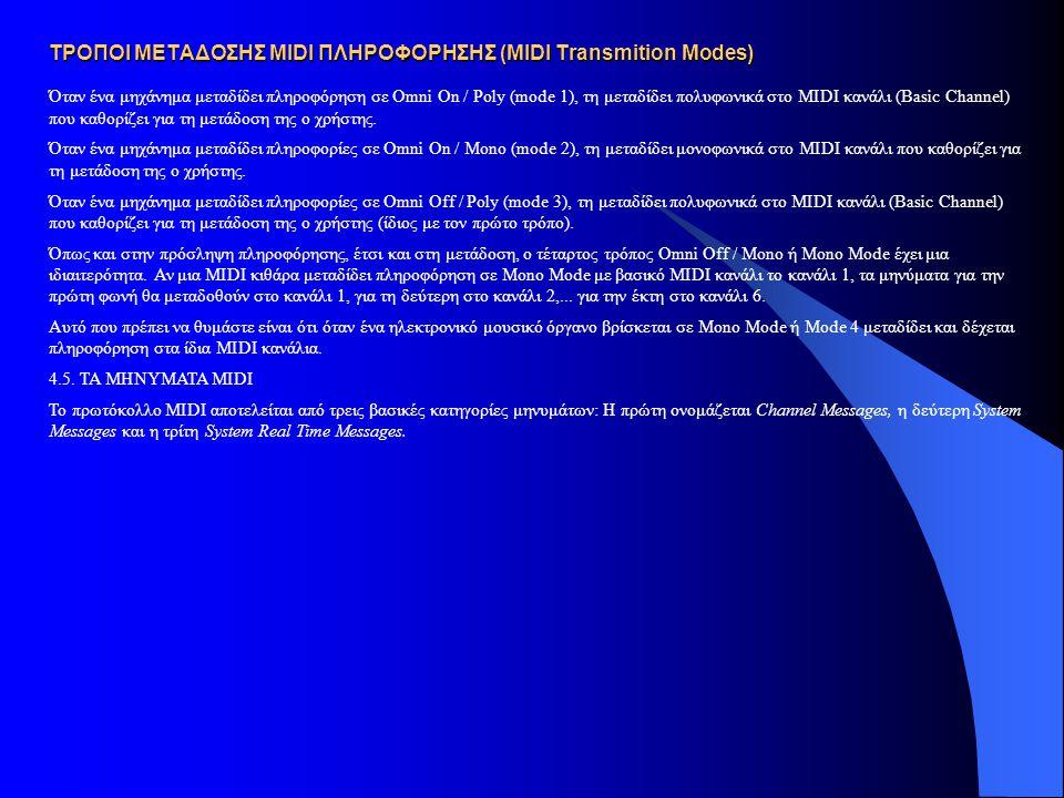 ΤΡΟΠΟΙ ΜΕΤΑΔΟΣΗΣ MIDI ΠΛΗΡΟΦΟΡΗΣΗΣ (MIDI Transmition Modes) Όταν ένα μηχάνημα μεταδίδει πληροφόρηση σε Omni On / Poly (mode 1), τη μεταδίδει πολυφωνικά στο MIDI κανάλι (Basic Channel) που καθορίζει για τη μετάδοση της ο χρήστης.