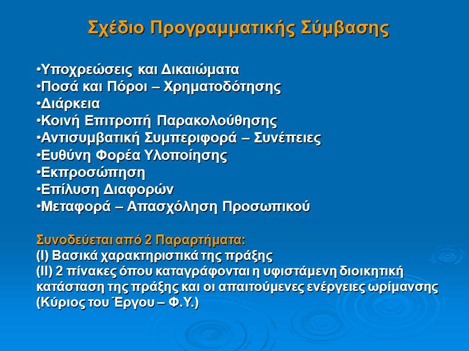 Σχέδιο Προγραμματικής Σύμβασης •Υποχρεώσεις και Δικαιώματα •Ποσά και Πόροι – Χρηματοδότησης •Διάρκεια •Κοινή Επιτροπή Παρακολούθησης •Αντισυμβατική Συ