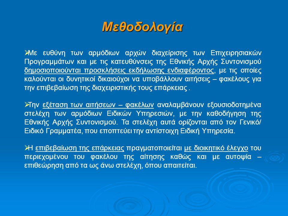 Μεθοδολογία  Με ευθύνη των αρμόδιων αρχών διαχείρισης των Επιχειρησιακών Προγραμμάτων και με τις κατευθύνσεις της Εθνικής Αρχής Συντονισμού δημοσιοπο