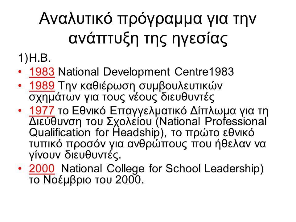 Αναλυτικό πρόγραμμα για την ανάπτυξη της ηγεσίας 1)Η.Β. •1983 National Development Centre1983 •1989 Την καθιέρωση συμβουλευτικών σχημάτων για τους νέο