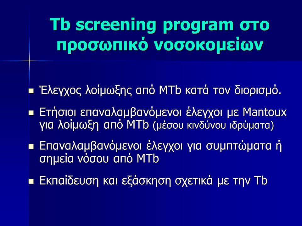 Tb screening program στο προσωπικό νοσοκομείων  Έλεγχος λοίμωξης από MTb κατά τον διορισμό.  Ετήσιοι επαναλαμβανόμενοι έλεγχοι με Mantoux για λοίμωξ