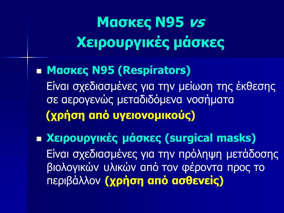 Μασκες Ν95 vs Χειρουργικές μάσκες   Μασκες Ν95 (Respirators) Είναι σχεδιασμένες για την μείωση της έκθεσης σε αερογενώς μεταδιδόμενα νοσήματα (χρήση