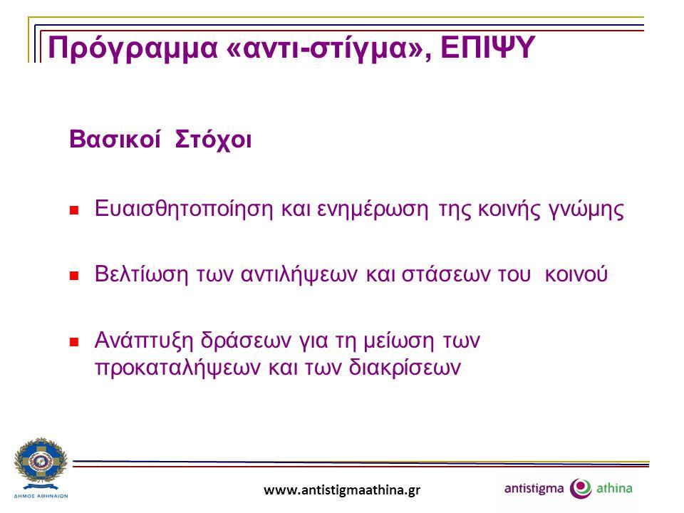 www.antistigmaathina.gr Πρόγραμμα «αντι-στίγμα», ΕΠΙΨΥ Τομείς Δραστηριοποίησης  Έρευνα  Εκπαίδευση  Συνηγορία  Επικοινωνία