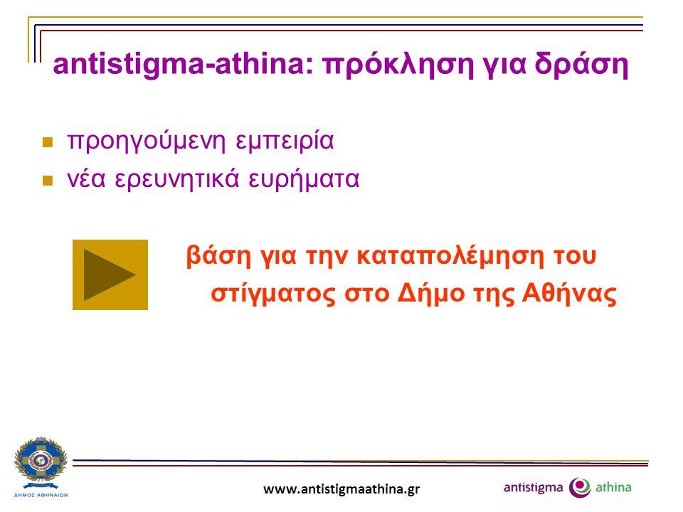 www.antistigmaathina.gr antistigma-athina: πρόκληση για δράση Έρευνα γενικού πληθυσμού στο Δήμο της Αθήνας για τις αντιλήψεις και τις στάσεις απέναντι σε διάφορες κοινωνικές ομάδες (ψυχικά ασθενείς, άτομα με σωματική αναπηρία, χρήστες ουσιών, οροθετικούς, μετανάστες, αποφυλακισμένους, άστεγους).
