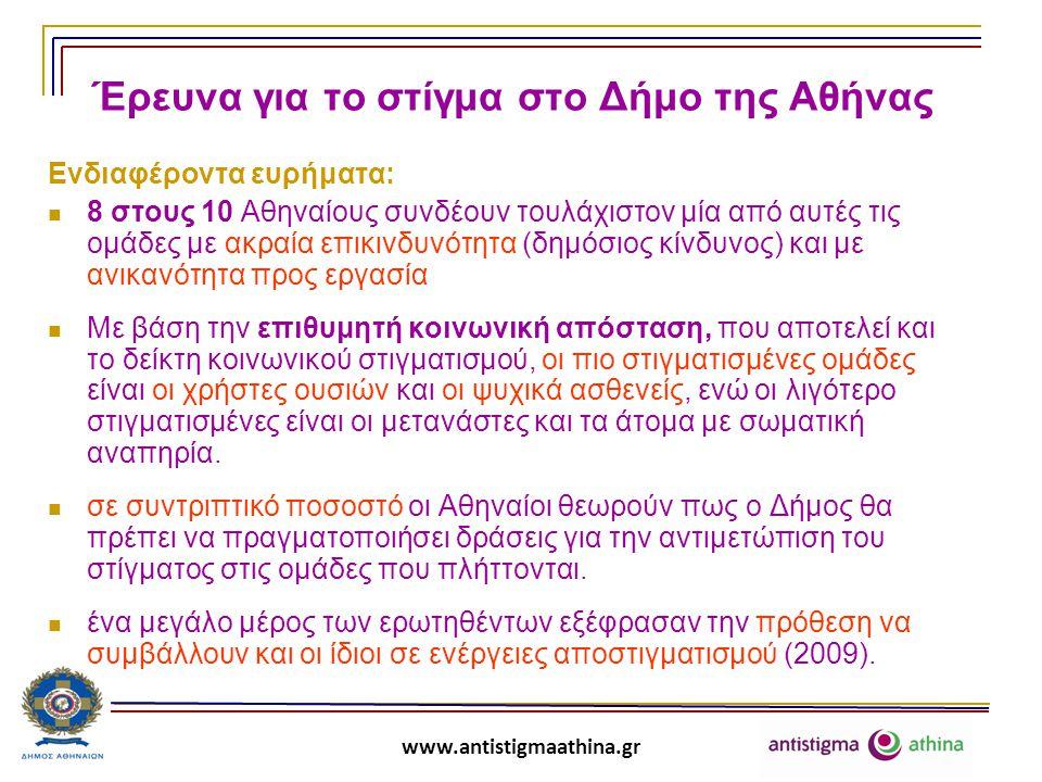 www.antistigmaathina.gr Ενδιαφέρουσα σύμπτωση και ελπιδοφόρο εύρημα:  Παλαιότερη έρευνα του ΕΠΙΨΥ για το στίγμα σε περιοχές όπου επρόκειτο να δημιουργηθούν στεγαστικές δομές για ψυχικά ασθενείς έδειξε ότι, παρά τις τότε θορυβώδεις αντιδράσεις μιας μικρής μειοψηφίας, μεγάλη μερίδα του πληθυσμού ήταν θετικά διακείμενη ως προς την παροχή βοήθειας στα άτομα με ψυχική ασθένεια και δεν είχε πρόθεση να αναλάβει δράση εναντίον της στέγασής τους στην περιοχή (ΕΠΙΨΥ 2005).