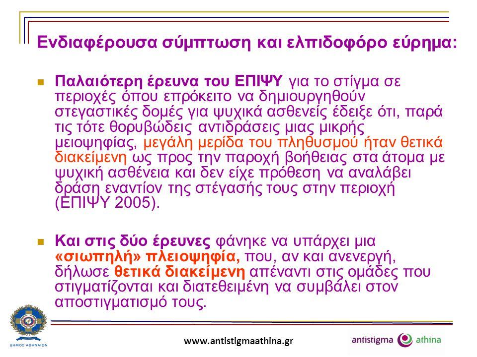 www.antistigmaathina.gr antistigma-athina: πρόκληση για δράση Αυτή τη «σιωπηλή πλειοψηφία» πρέπει να κινητοποιήσουμε, να την καταστήσουμε ενεργό συμμέτοχο στην προσπάθειά μας να καταπολεμήσουμε το στίγμα και τις διακρίσεις.