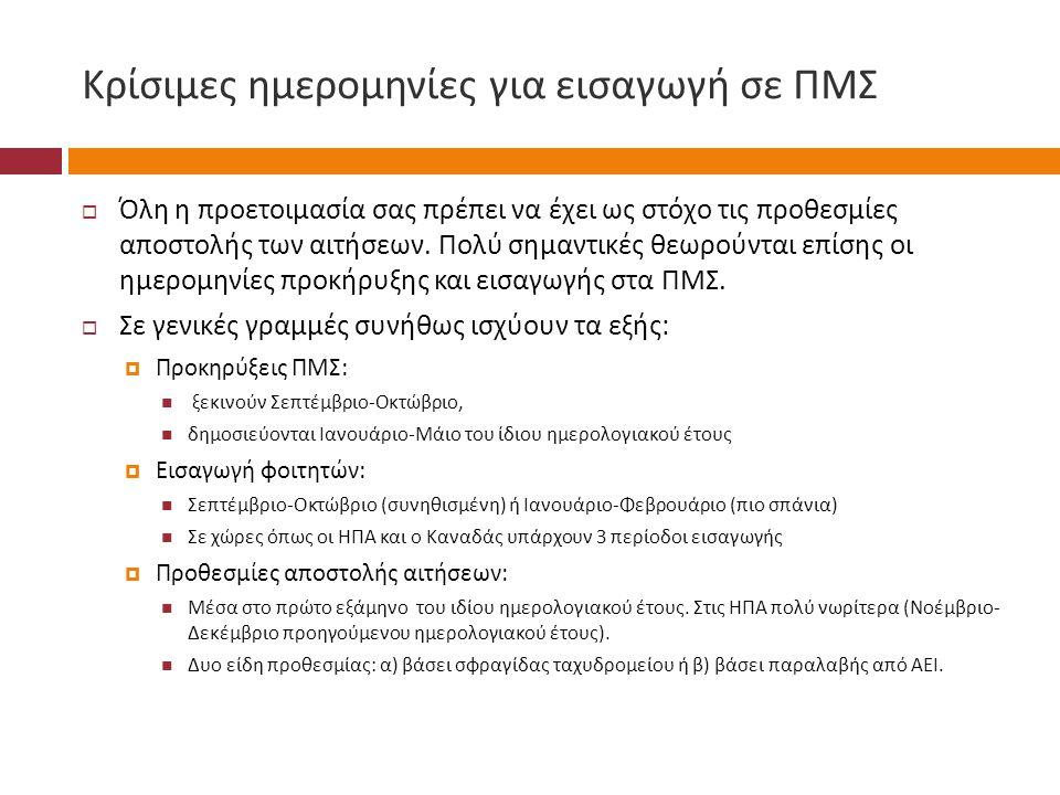 Κρίσιμες ημερομηνίες για εισαγωγή σε ΠΜΣ  Όλη η προετοιμασία σας πρέπει να έχει ως στόχο τις προθεσμίες αποστολής των αιτήσεων.