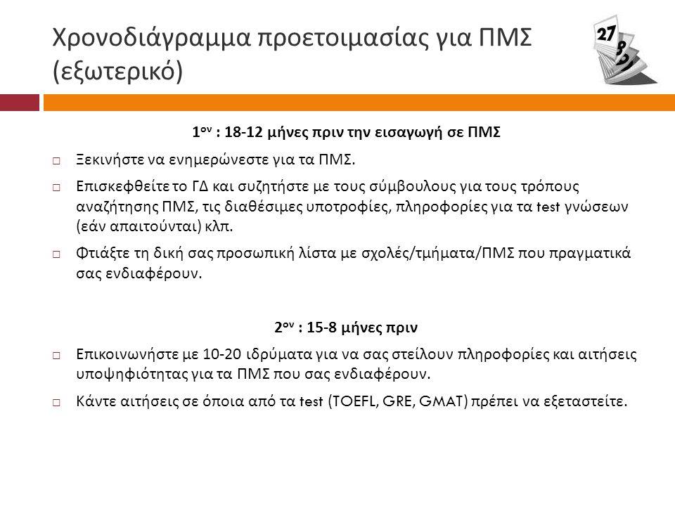 Χρονοδιάγραμμα προετοιμασίας για ΠΜΣ ( εξωτερικό ) 1 ον : 18-12 μήνες πριν την εισαγωγή σε ΠΜΣ  Ξεκινήστε να ενημερώνεστε για τα ΠΜΣ.
