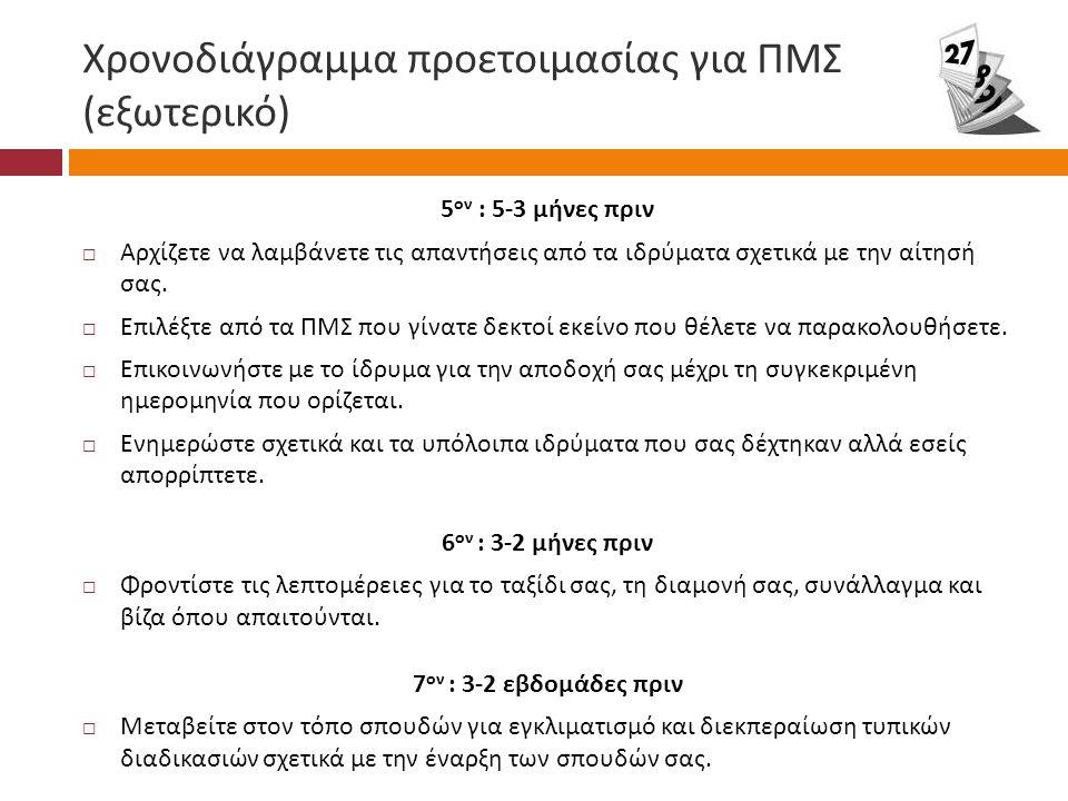 Χρονοδιάγραμμα προετοιμασίας για ΠΜΣ ( εξωτερικό ) 5 ον : 5-3 μήνες πριν  Αρχίζετε να λαμβάνετε τις απαντήσεις από τα ιδρύματα σχετικά με την αίτησή σας.