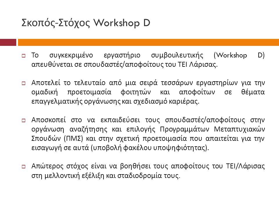 Σκοπός - Στόχος Workshop D  Το συγκεκριμένο εργαστήριο συμβουλευτικής (Workshop D) απευθύνεται σε σπουδαστές / αποφοίτους του ΤΕΙ Λάρισας.