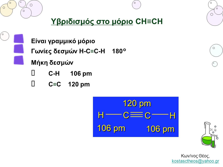 Κων/νος Θέος, kostasctheos@yahoo.gr kostasctheos@yahoo.gr Είναι γραμμικό μόριο Γωνίες δεσμών Η-C ≡ C-H 180° Μήκη δεσμών ✴ C-H 106 pm ✴ C ≡ C 120 pm Υβ