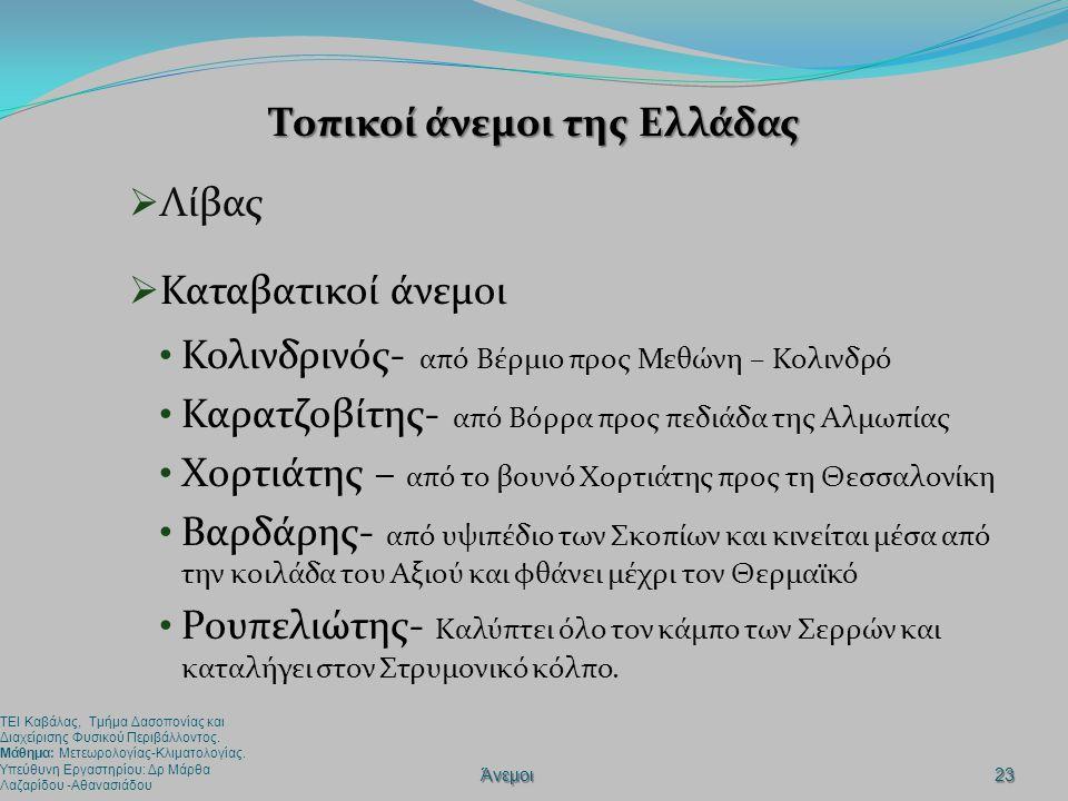 Τοπικοί άνεμοι της Ελλάδας  Λίβας  Καταβατικοί άνεμοι • Κολινδρινός- από Βέρμιο προς Μεθώνη – Κολινδρό • Καρατζοβίτης- από Βόρρα προς πεδιάδα της Αλ