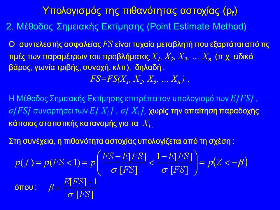 Ο συντελεστής ασφαλείας FS είναι τυχαία μεταβλητή που εξαρτάται από τις τιμές των παραμέτρων του προβλήματος Χ 1, Χ 2, Χ 3, … Χ n (π.χ. ειδικό βάρος,