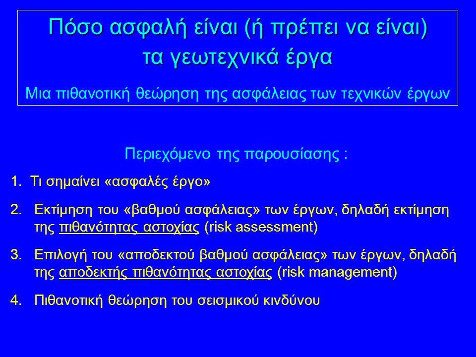Περιεχόμενο της παρουσίασης : 1. Τι σημαίνει «ασφαλές έργο» 2.Εκτίμηση του «βαθμού ασφάλειας» των έργων, δηλαδή εκτίμηση της πιθανότητας αστοχίας (ris