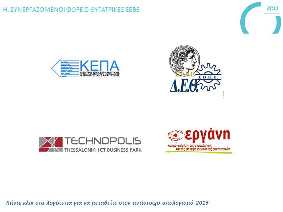Η. ΣΥΝΕΡΓΑΖΟΜΕΝΟΙ ΦΟΡΕΙΣ-ΘΥΓΑΤΡΙΚΕΣ ΣΕΒΕ Κάντε κλικ στα λογότυπα για να μεταβείτε στον αντίστοιχο απολογισμό 2013