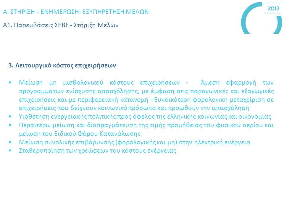 Α. ΣΤΗΡΙΞΗ - ΕΝΗΜΕΡΩΣΗ- ΕΞΥΠΗΡΕΤΗΣΗ ΜΕΛΩΝ Α1. Παρεμβάσεις ΣΕBΕ - Στήριξη Μελών 3.