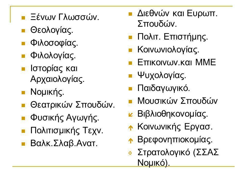  Ξένων Γλωσσών.  Θεολογίας.  Φιλοσοφίας.  Φιλολογίας.  Ιστορίας και Αρχαιολογίας.  Νομικής.  Θεατρικών Σπουδών.  Φυσικής Αγωγής.  Πολιτισμική