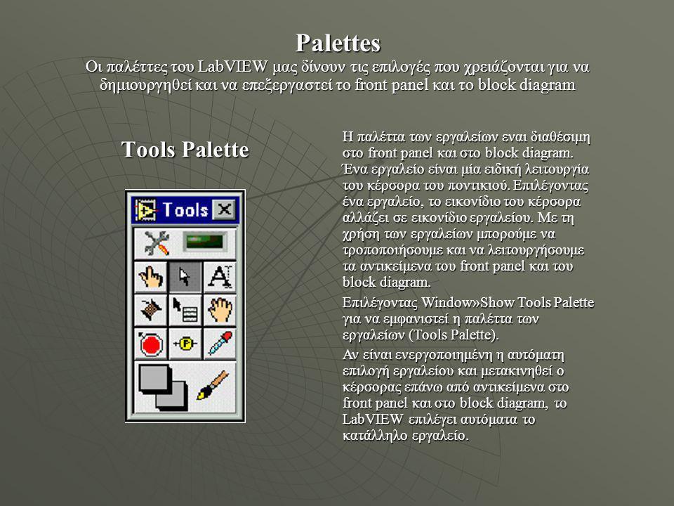 Block Diagram Αφού δημιουργηθεί το front panel, προσθέτουμε κώδικα χρησιμοποιώντας γραφικές αναπαραστάσεις των λειτουργιών για να ελέγχουν τα εργαλεία