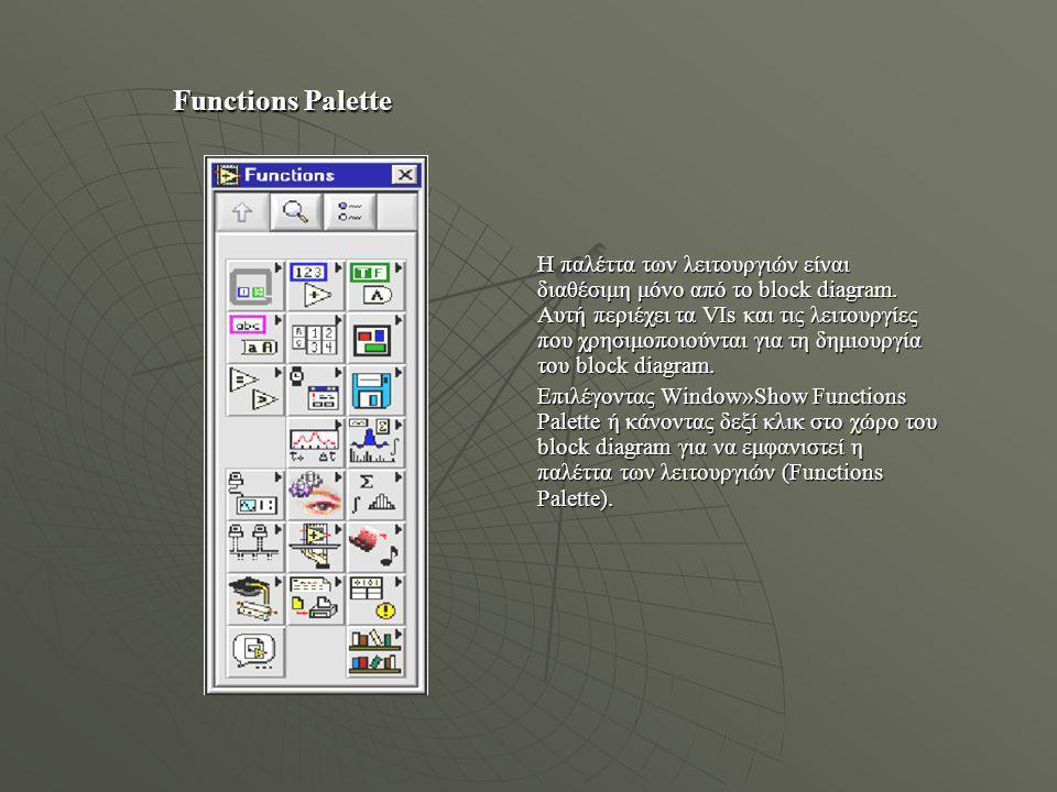 Controls Palette Η παλέττα του ελέγχου είναι διαθέσιμη μόνο στο front panel. Η παλέττα αυτή περιέχει τους ελέγχους και τους δείκτες που χρησιμοποιούντ