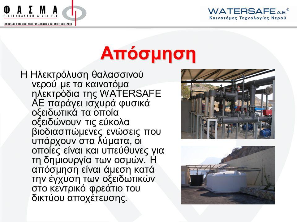 Απόσμηση Η Ηλεκτρόλυση θαλασσινού νερού με τα καινοτόμα ηλεκτρόδια της WATERSAFE AE παράγει ισχυρά φυσικά οξειδωτικά τα οποία οξειδώνουν τις εύκολα βι