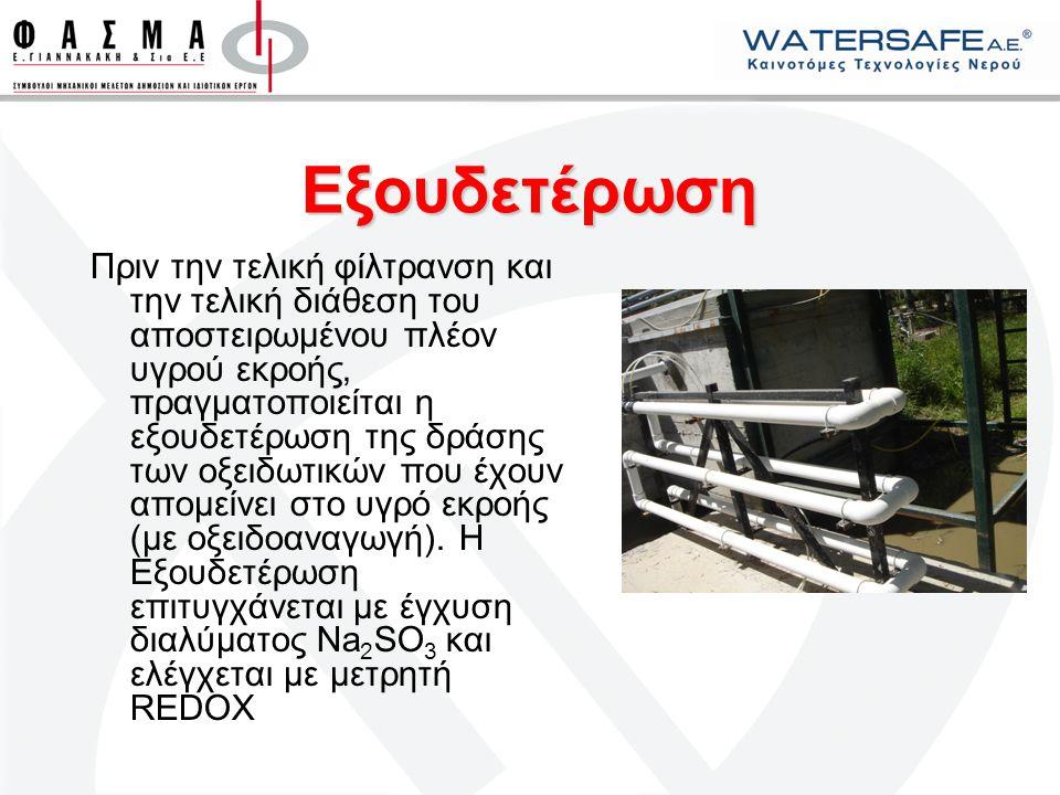 Ανακύκλωση Νερού Το αποστειρωμένο, διαυγές και άοσμο υγρό εκροής, ελεύθερο από μικρορύπους είναι κατάλληλο για κάθε είδους επανάχρηση, όπως: Απ' ευθείας άρδευση Πλύση δρόμων/πεζοδρομίων Πότισμα κοινοτικού πρασίνου Χρήση σε καζανάκια (hotels) Πυρόσβεση