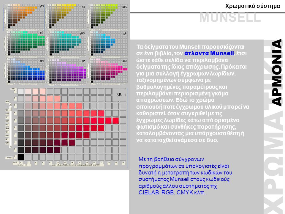 Χρωματικό σύστημα ΧΡΩΜΑΤΙΚΗ ΑΡΜΟΝΙΑ Τα δείγματα του Munsell παρουσιάζονται σε ένα βιβλίο, τον άτλαντα Munsell, έτσι ώστε κάθε σελίδα να περιλαμβάνει δ