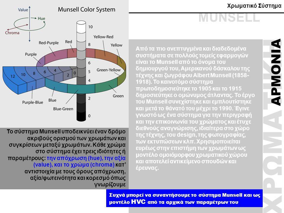 ΧΡΩΜΑΤΙΚΗ ΑΡΜΟΝΙΑ Από τα πιο ανεπτυγμένα και διαδεδομένα συστήματα σε πολλούς τομείς εφαρμογών είναι το Munsell από το όνομα του δημιουργού του, Αμερι