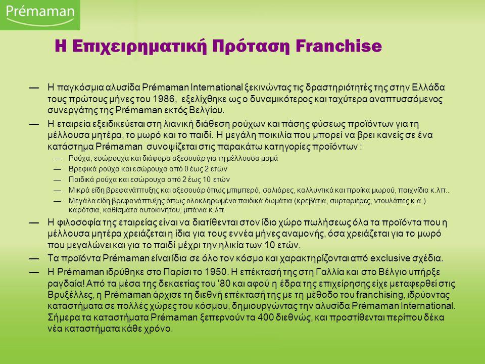 —Η παγκόσμια αλυσίδα Prémaman International ξεκινώντας τις δραστηριότητές της στην Ελλάδα τους πρώτους μήνες του 1986, εξελίχθηκε ως ο δυναμικότερος και ταχύτερα αναπτυσσόμενος συνεργάτης της Prémaman εκτός Βελγίου.