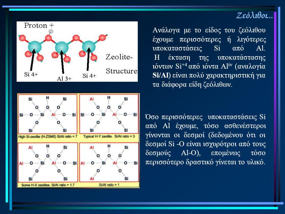 Ζεόλιθοι... Όσο περισσότερες υποκαταστάσεις Si από Al έχουμε, τόσο ασθενέστεροι γίνονται οι δεσμοί (δεδομένου ότι οι δεσμοί Si -Ο είναι ισχυρότροι από