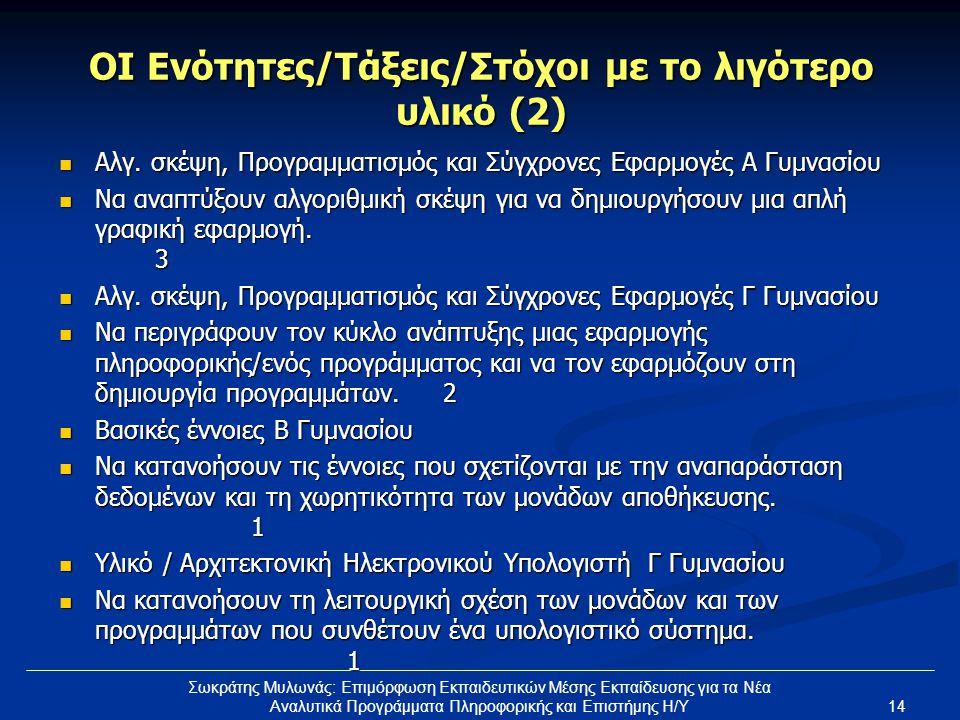 14 Σωκράτης Μυλωνάς: Επιμόρφωση Εκπαιδευτικών Μέσης Εκπαίδευσης για τα Νέα Αναλυτικά Προγράμματα Πληροφορικής και Επιστήμης Η/Υ ΟΙ Ενότητες/Τάξεις/Στόχοι με το λιγότερο υλικό (2)  Αλγ.