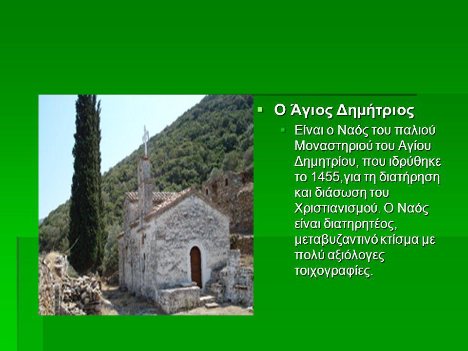  Ο Άγιος Δημήτριος  Είναι ο Ναός του παλιού Μοναστηριού του Αγίου Δημητρίου, που ιδρύθηκε το 1455,για τη διατήρηση και διάσωση του Χριστιανισμού. Ο