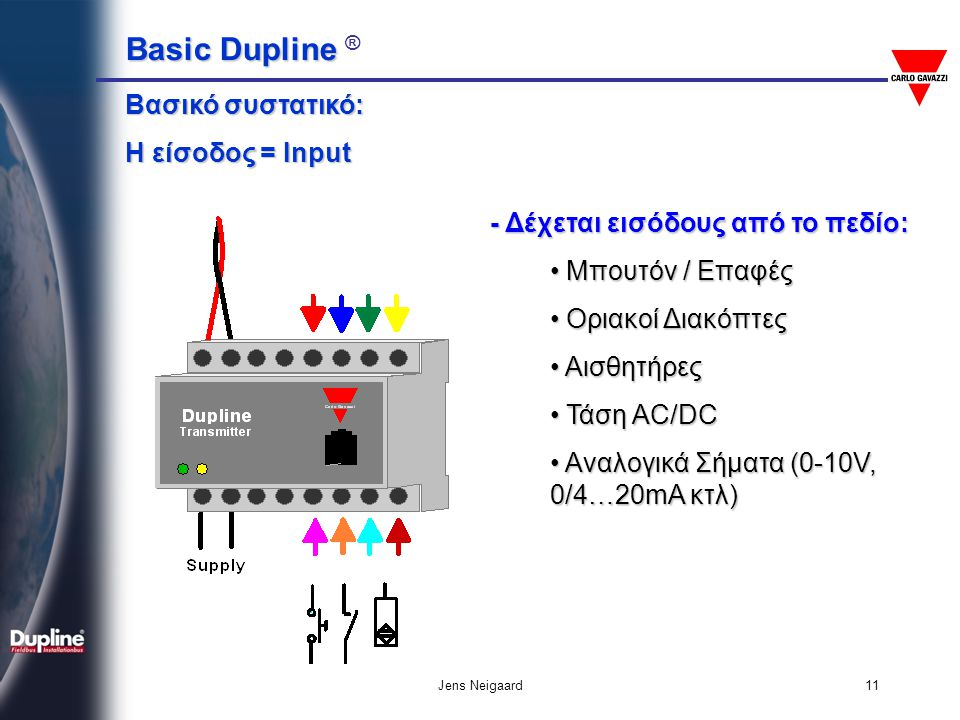 Basic Dupline Basic Dupline ® Jens Neigaard11 Βασικό συστατικό: Η είσοδος = Input - Δέχεται εισόδους από το πεδίο: • Μπουτόν / Επαφές • Οριακοί Διακόπ