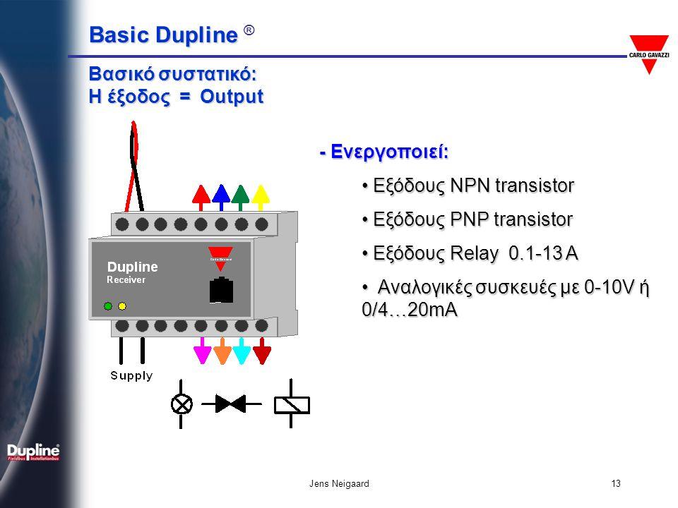 Basic Dupline Basic Dupline ® Jens Neigaard13 Βασικό συστατικό: Η έξοδος = Output - Ενεργοποιεί: • Εξόδους NPN transistor • Εξόδους PNP transistor • Ε