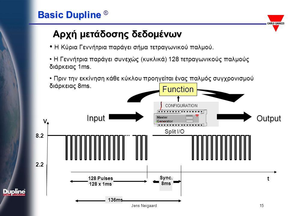 Basic Dupline Basic Dupline ® Jens Neigaard15 Αρχή μετάδοσης δεδομένων 8.2 2.2 t 128 Pulses 128 x 1ms 136ms V Sync. 8ms • Η Κύρια Γεννήτρια παράγει σή