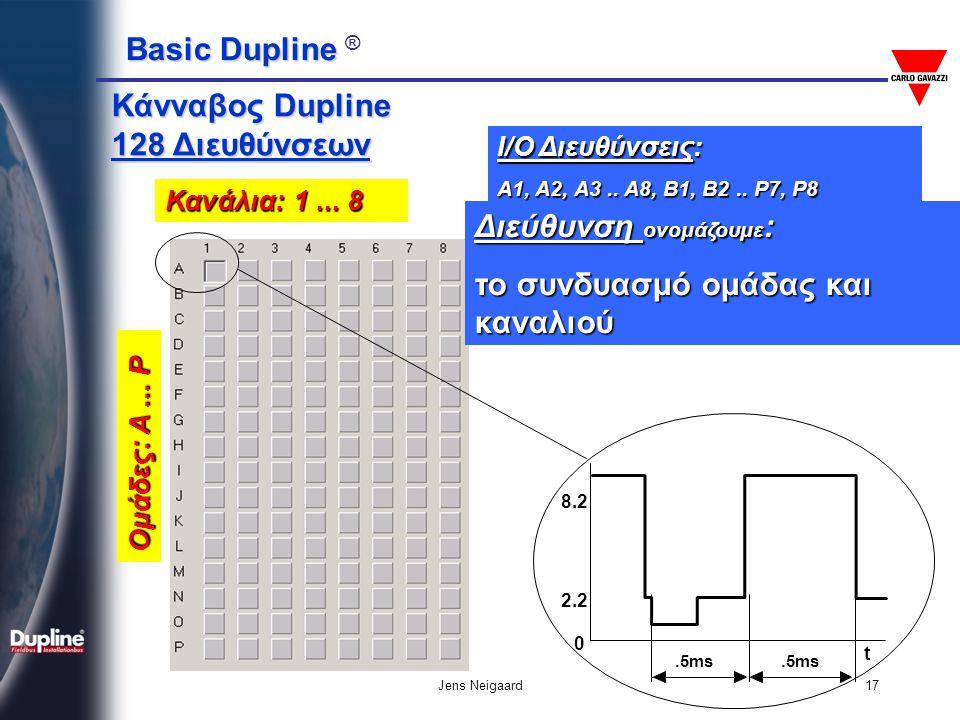 Basic Dupline Basic Dupline ® Jens Neigaard17 I/O Διευθύνσεις: A1, A2, A3.. A8, B1, B2.. P7, P8 Ομάδες: A... P Κανάλια: 1... 8 Κάνναβος Dupline 128 Δι