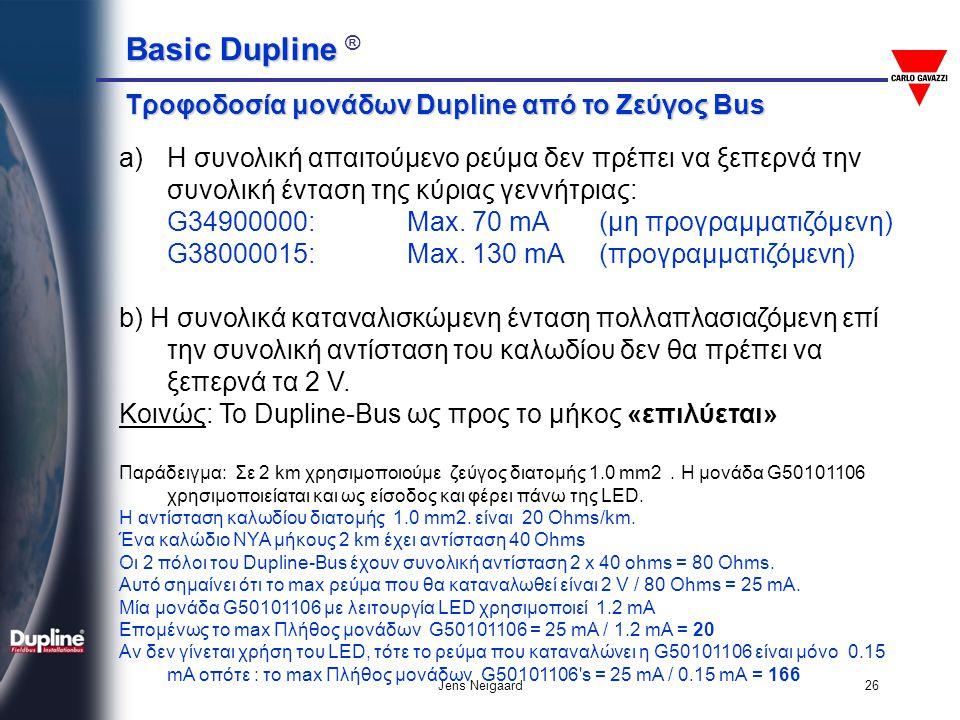 Basic Dupline Basic Dupline ® Jens Neigaard26 Τροφοδοσία μονάδων Dupline από το Ζεύγος Bus a)Η συνολική απαιτούμενο ρεύμα δεν πρέπει να ξεπερνά την συ