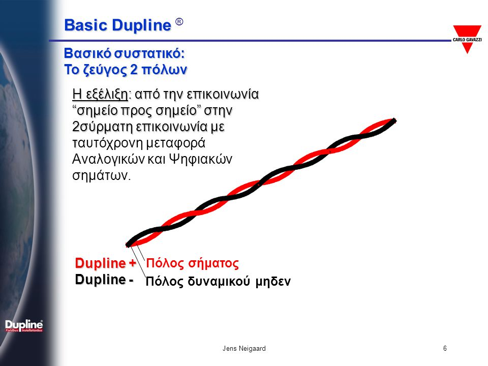 "Basic Dupline Basic Dupline ® Jens Neigaard6 Πόλος σήματος Πόλος δυναμικού μηδεν Βασικό συστατικό: Το ζεύγος 2 πόλων Η εξέλιξη: από την επικοινωνία ""σ"