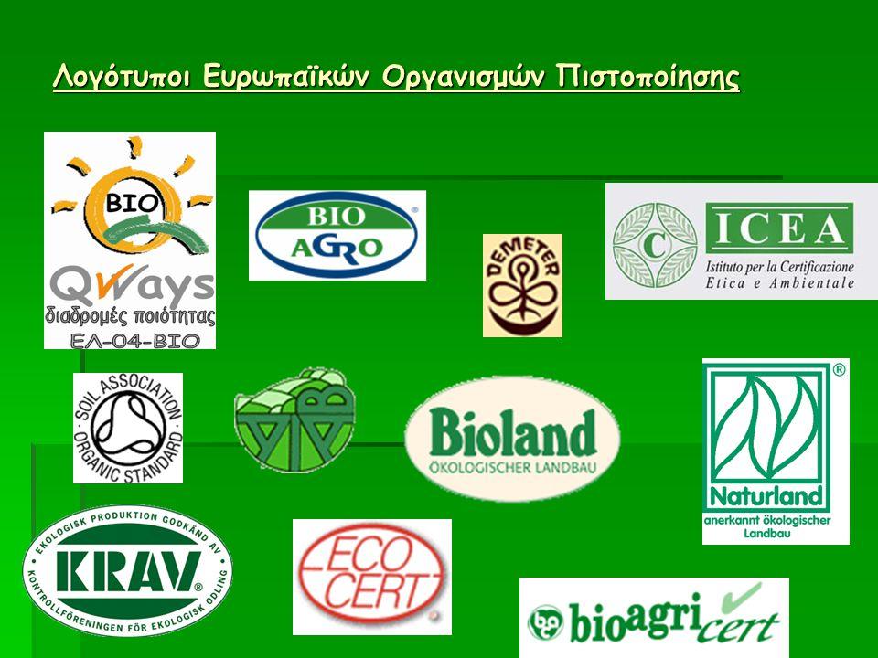 Λογότυποι ή σήματα συγκεκριμένων προτύπων Βιολογικής Γεωργίας.