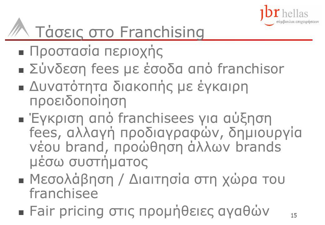 15 Τάσεις στο Franchising  Προστασία περιοχής  Σύνδεση fees με έσοδα από franchisor  Δυνατότητα διακοπής με έγκαιρη προειδοποίηση  Έγκριση από franchisees για αύξηση fees, αλλαγή προδιαγραφών, δημιουργία νέου brand, προώθηση άλλων brands μέσω συστήματος  Μεσολάβηση / Διαιτησία στη χώρα του franchisee  Fair pricing στις προμήθειες αγαθών